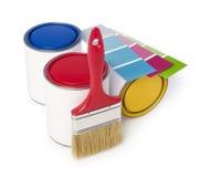 Maluje puszki, farby muśnięcie i kolor mapę, Zdjęcie Stock