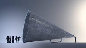 Malutcy ludzie używa rocznika megafon Zdjęcie Stock