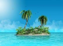 Malutka mała tropikalna wyspa przeciwstawia się ocean obrazy stock