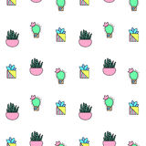 Malutki kaktus i tłustoszowaty bezszwowy wzór Zielonych rośliien wzoru płytka Fotografia Stock