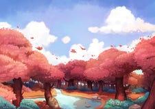 Malutki Ptasi latanie Nad Piękny las w ranku ilustracja wektor