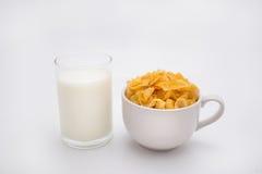 Malutki szkło mleko z Malutką filiżanką Kukurydzani płatki Zdjęcie Royalty Free