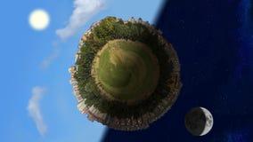 Malutkiej planety światowa panorama w dniu i nocy, bezszwowa pętla ilustracja wektor