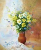 Malva gialla e camomiles bianchi Fotografie Stock
