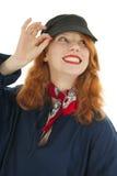 Malvagità della ragazza del ritratto che pensa con i capelli rossi Fotografia Stock Libera da Diritti