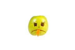 Malvagità sorridente triste dalla mela Sensibilità, atteggiamenti Fotografia Stock Libera da Diritti