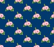 Malvarrosa rosada en fondo de los azules añiles Ilustración del vector ilustración del vector