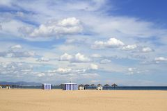Malvarrosa sand beach in Valencia Spain blue sky Stock Photography