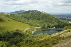 Malvern Hills. Lake beneath Herefordshire Beacon in the Malvern Hills Stock Photo