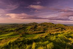 Malvern Hills. In Worcestershire . Looking along the top of the hills Royalty Free Stock Photos