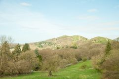 Malvern hills springtime scenery in the English countryside. A beautiful scene around the English countryside of the Malvern hills in United Kingdom Stock Photography