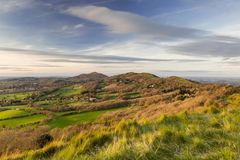 Malvern Hills. In Worcestershire . Looking along the top of the hills Stock Image