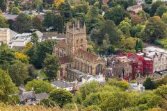 Malvern Hills. In Worcestershire . Looking down at the priory and abbey hotel Royalty Free Stock Photo