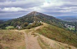Malvern kullar i England Arkivfoto