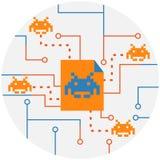 Malware,病毒, Ransomware攻击的细菌抽象象 免版税库存照片