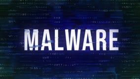 Malware -与双的小故障生气蓬勃的专业术语在背景中 库存例证