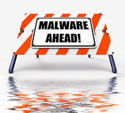 Malware Ahead Displays Malicious Danger for Computer Future Royalty Free Stock Photo