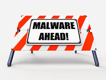 Malware Ahead Refers to Malicious Danger for Stock Images