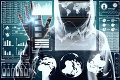 Malware and ai concept. Hacker using digital business interface on blurry background. Double exposure stock image