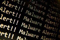 Malware Alert. On display screen Stock Photos