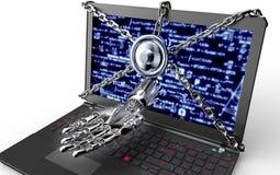 Malware ataka pojęcia kłódka z robothand royalty ilustracja