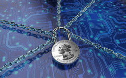 Malware attack concept padlock with money Stock Photo