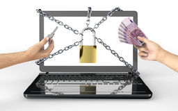 Malware attack concept padlock with money Stock Images