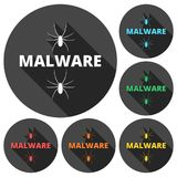 Malware Attention Hazard sign, icons set with long shadow Stock Photo