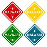 Malware Attention Hazard sign, icons set Stock Photos