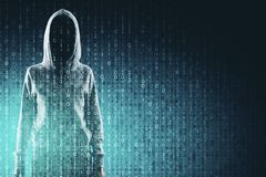 Malware and computing concept. Hacker in hoodie with creative binary code. Double exposure royalty free stock images