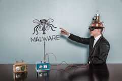 Malware concept with vintage businessman Royalty Free Stock Photos