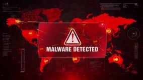 Malware detected alert warning attack on screen world map.