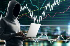 Malware and finance concept. Hacker using laptop with forex chart interface on blurry city background. Malware and finance concept. Multiexposure royalty free stock photos