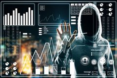 Malware and hud concept. Hacker using digital business interface on blurry night city background. Double exposure vector illustration