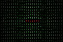 Malware ord med digitalt mörker för teknologi eller svartbakgrund med binär kod i ljus - grön färg 1001 Arkivfoto