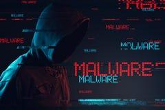 Malware pojęcie z beztwarzową kapturzastą męską osobą fotografia stock