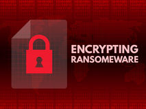 Malware Ransomware wannacry virus encrypted files.  Stock Photo