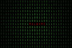 Malware słowo z technologia cyfrowym zmrokiem lub czarny tło z binarnym kodem w jasnozielonym kolorze 1001 Zdjęcie Stock