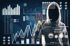 Malware and screen concept. Hacker using digital business interface on blurry background. Double exposure royalty free stock image