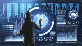 Malware and security concept. Back view of hacker with digital business interface. Malware and security concept stock image
