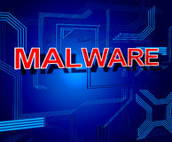 Malware Sign Represents Processor Keyboard And Malicious Stock Photo