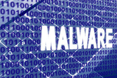 Malware text over binary code Stock Photo