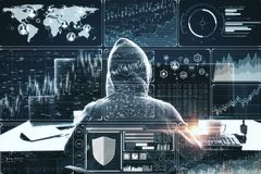 Malware and trade concept. Hacker at desktop using computer with digital business interface on blurry background. Double exposure stock photos