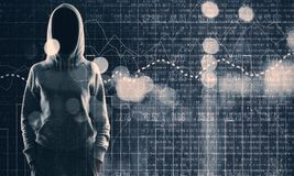 Malware and trade concept. Hacker with glowing forex interface on blurry bokeh background. Malware and trade concept. Double exposure royalty free stock images