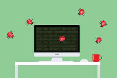 Malware virus security attack. Computer bugs attacking flat vector Royalty Free Stock Image