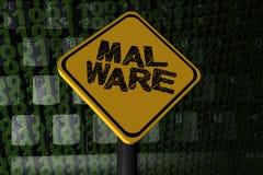Malware warning sign on binary code Stock Image