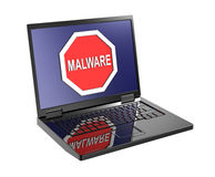 Malware warning sign on laptop screen. Royalty Free Stock Image