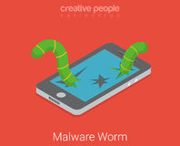 Malware worm virus app software flat 3d isometric vector Stock Photo