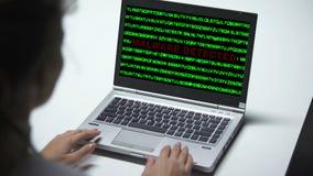 Malware wykrywał na laptopie, kobieta pracuje w biurze, baza danych ochrona zbiory wideo