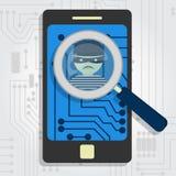 Malware wykrywał na smartphone Zdjęcie Royalty Free